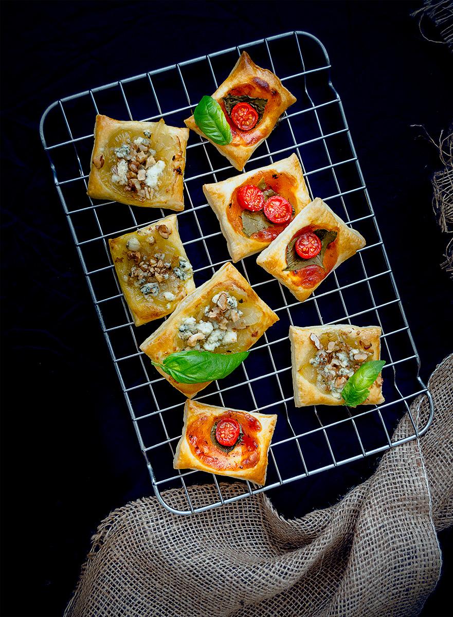 Nivové kocky s hruškami a s karamelizovanou cibuľkou